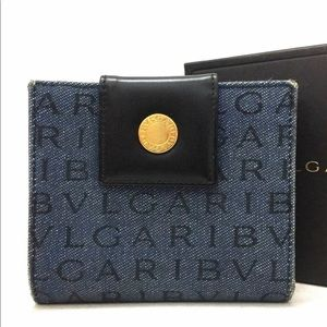 BVLGARI Logo Mania Canvas Leather Bifold Wallet